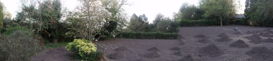 Panorama view showing lawn preparation