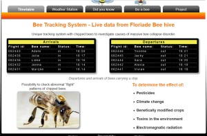 Snapshot from the page tracking some of the bee movements