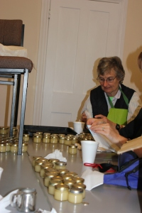 Janet and Olwyn sorting the jars..