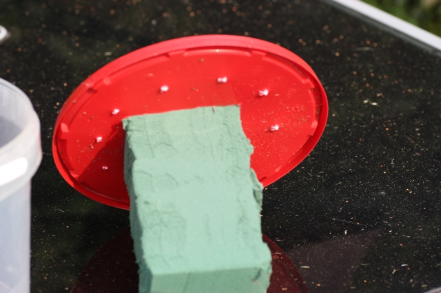 The lid with small holes for rain to get in and the rectangular opening for the block of oasis